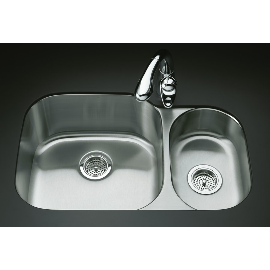 KOHLER Undertone 20.12-in x 30.75-in Stainless Steel Double-Basin Stainless Steel Undermount Residential Kitchen Sink