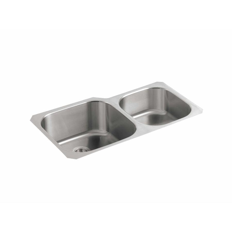 Shop KOHLER Undertone 30.75-in x 20.12-in Stainless steel Double ...