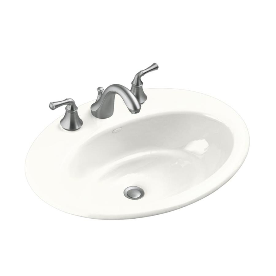 Shop Kohler Thoreau White Cast Iron Drop In Oval Bathroom Sink With Overflow At