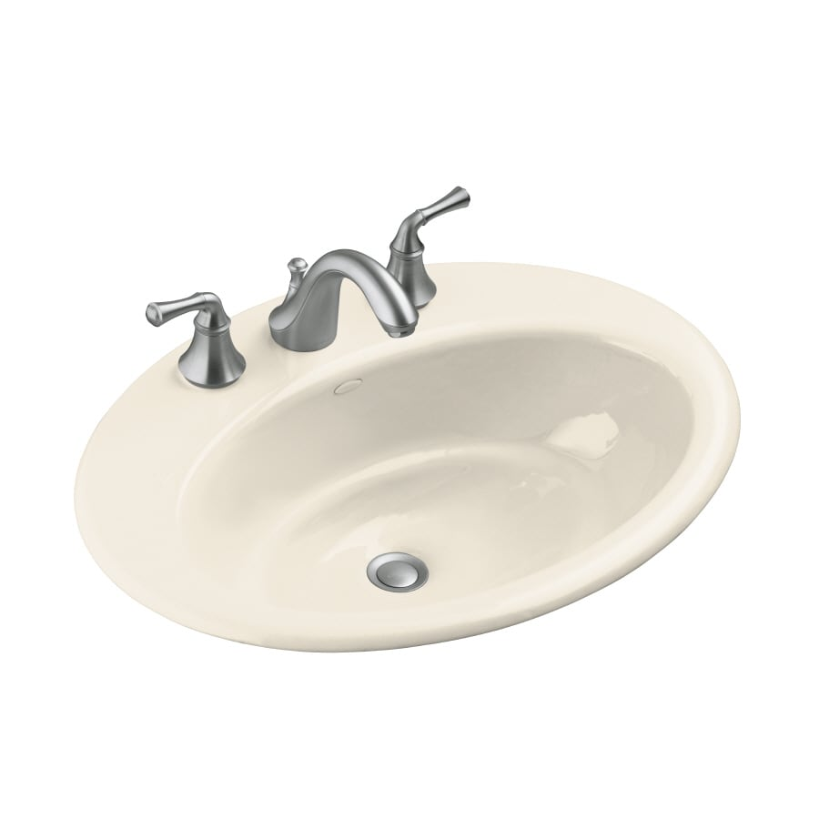 KOHLER Thoreau Almond Cast Iron Drop-in Oval Bathroom Sink with Overflow