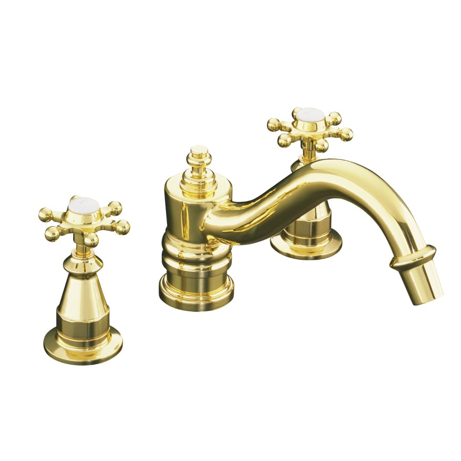 KOHLER Antique Vibrant Polished Brass 2-Handle Deck Mount Bathtub Faucet