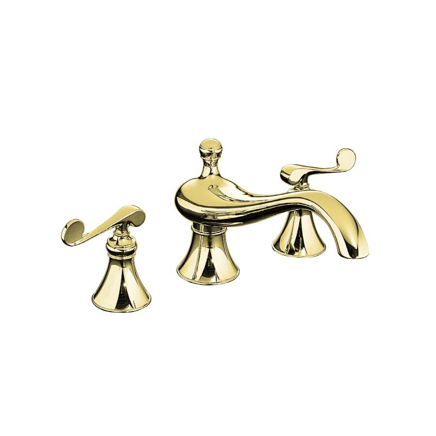 KOHLER Revival Vibrant Polished Brass 2-Handle Fixed Deck Mount Bathtub Faucet