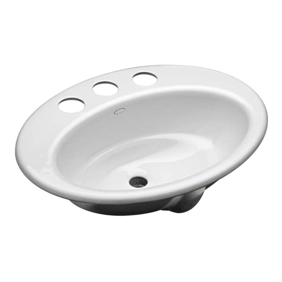 undermount bathroom sink with faucet holes shop kohler thoreau white cast iron undermount oval 25816