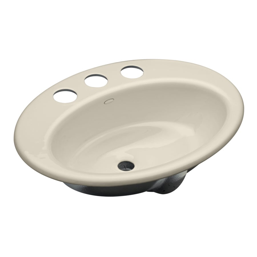 KOHLER Thoreau Biscuit Cast Iron Undermount Oval Bathroom Sink with Overflow