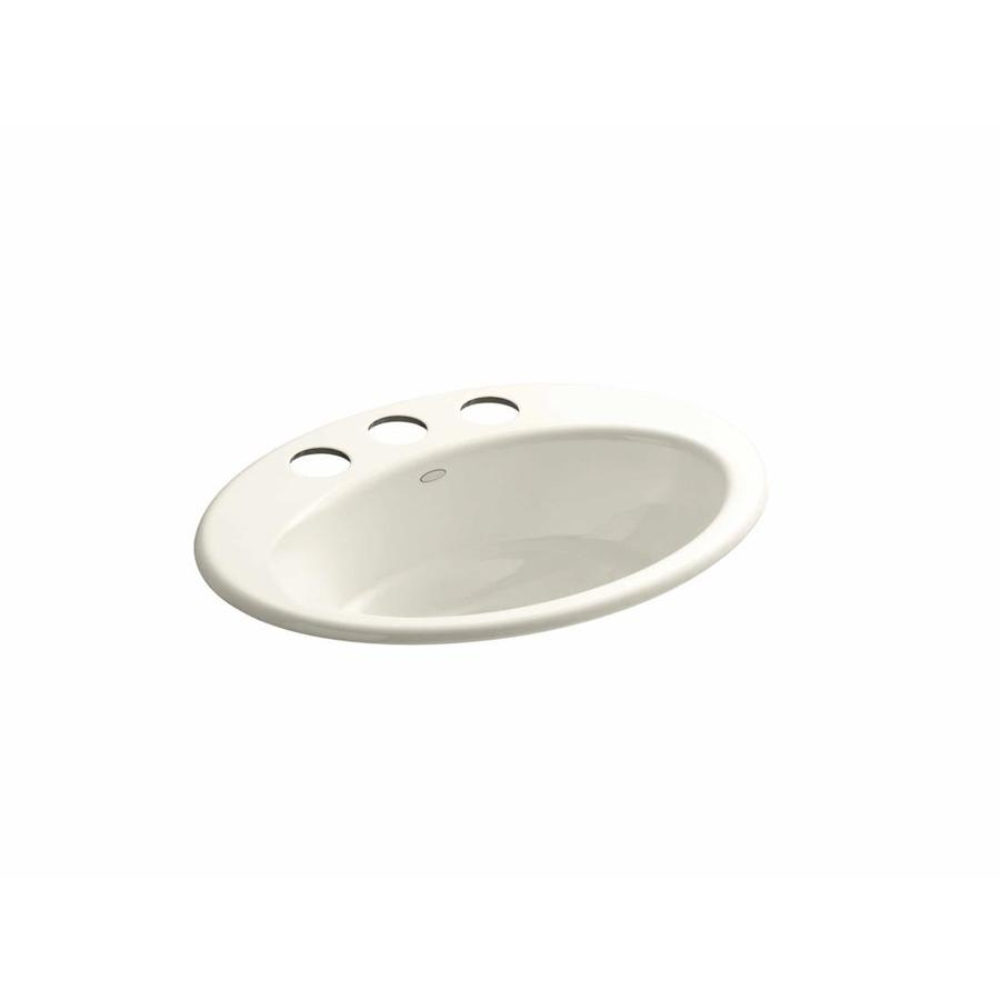 KOHLER Thoreau Almond Cast Iron Undermount Oval Bathroom Sink with Overflow