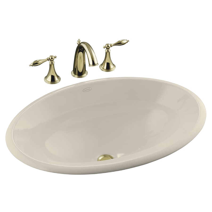 Kohler centerpiece almond drop in oval bathroom sink at - Decorating with almond bathroom fixtures ...