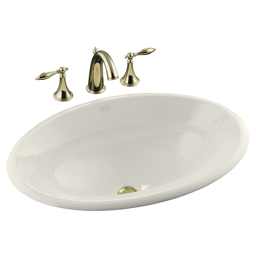 KOHLER Centerpiece Biscuit Drop-in Oval Bathroom Sink