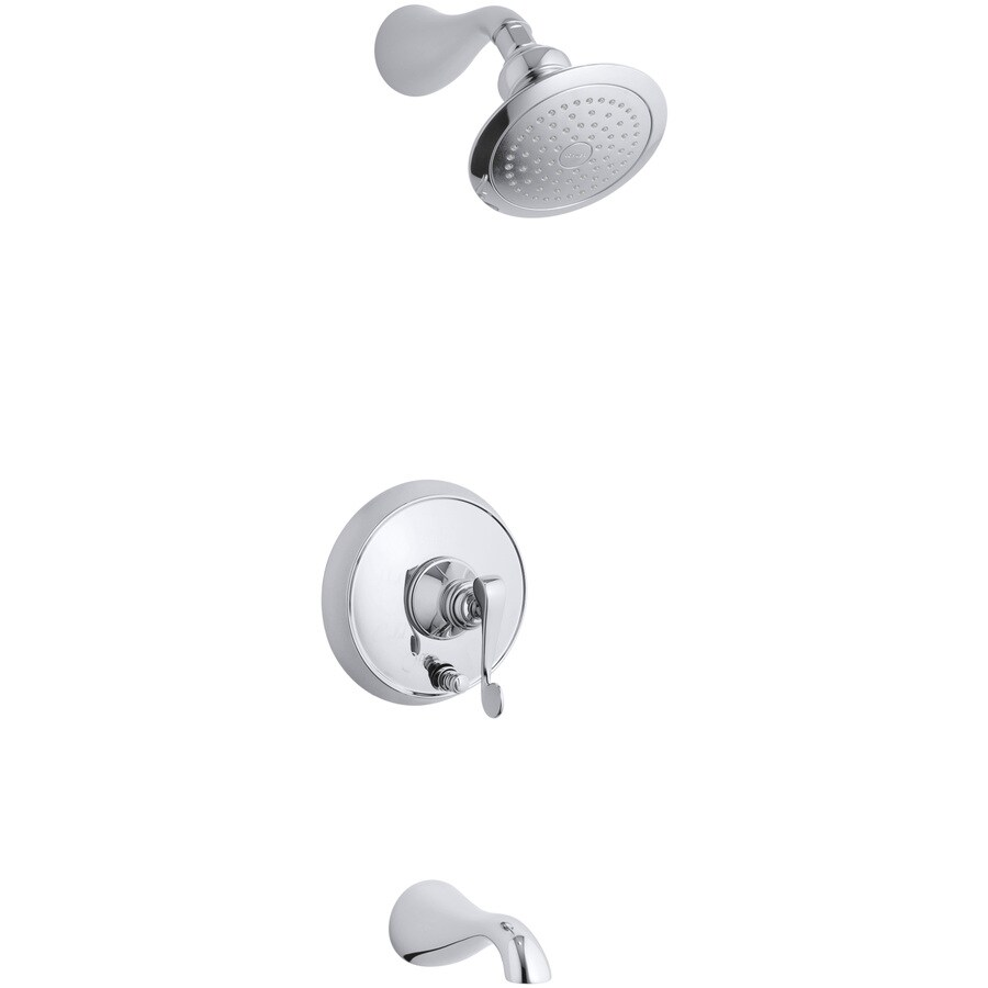 KOHLER Revival Polished Chrome 1-Handle Bathtub and Shower Faucet Trim Kit with Single Function Showerhead