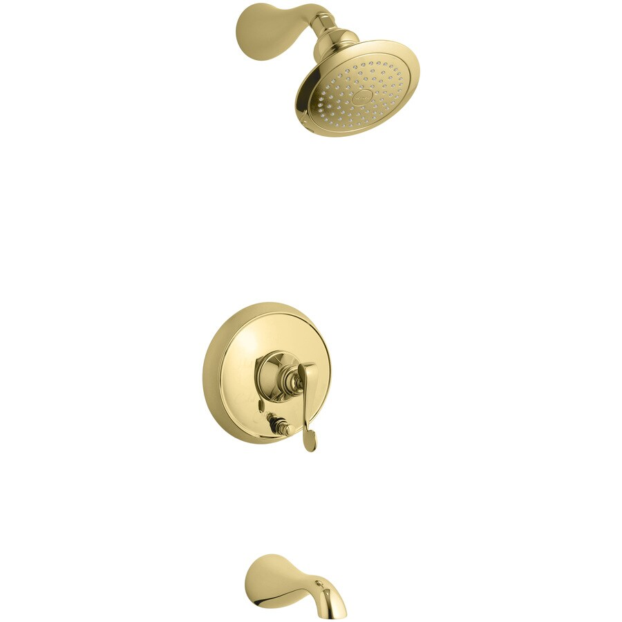 KOHLER Revival Vibrant Polished Brass 1-Handle Bathtub and Shower Faucet Trim Kit with Single Function Showerhead