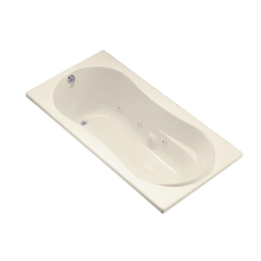 KOHLER 72-in Almond Acrylic Drop-In Whirlpool Tub with Reversible Drain