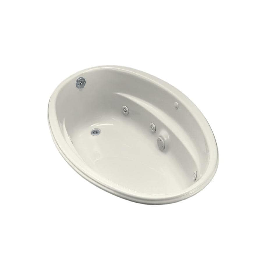 KOHLER 60-in Biscuit Acrylic Drop-In Whirlpool Tub with Reversible Drain