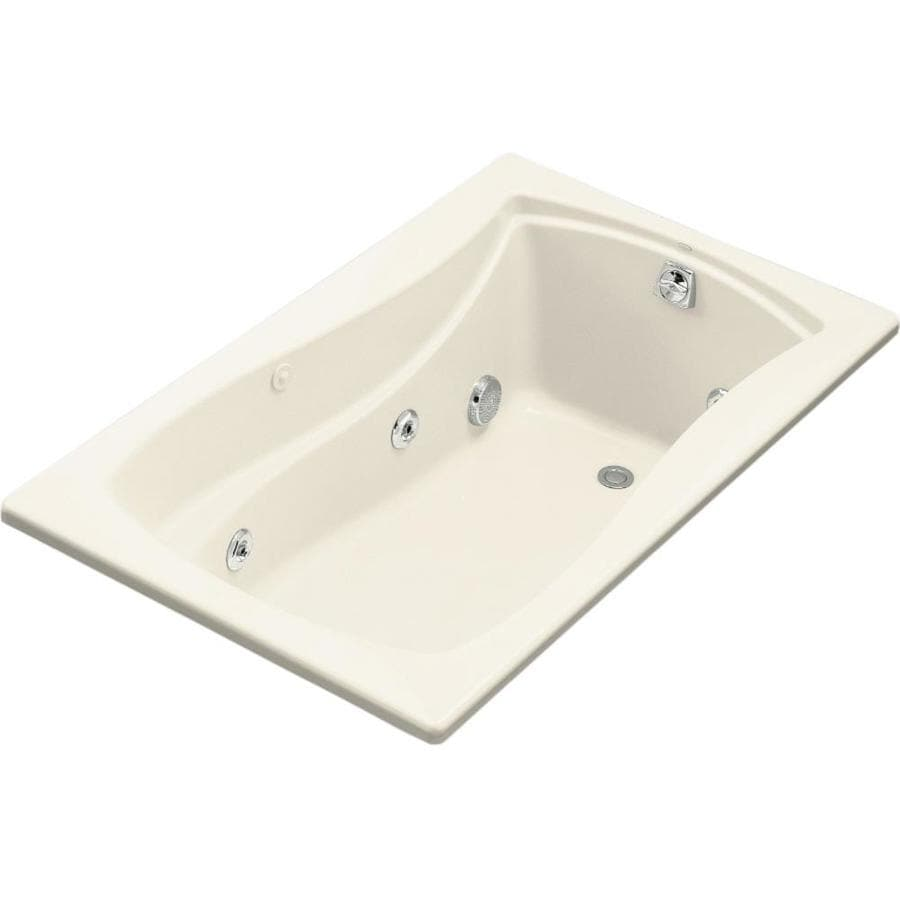 KOHLER Mariposa 60-in Almond Acrylic Drop-In Whirlpool Tub with Right-Hand Drain