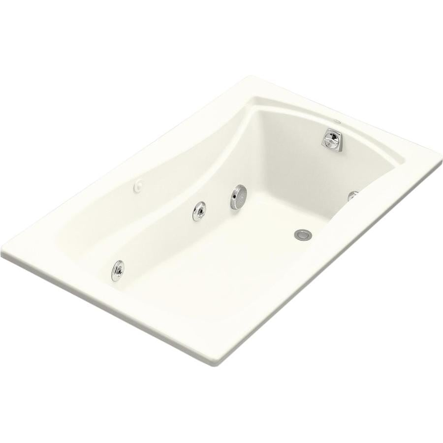 KOHLER Mariposa Biscuit Acrylic Hourglass In Rectangle Alcove Whirlpool Tub (Common: 36-in x 60-in; Actual: 20-in x 36-in)