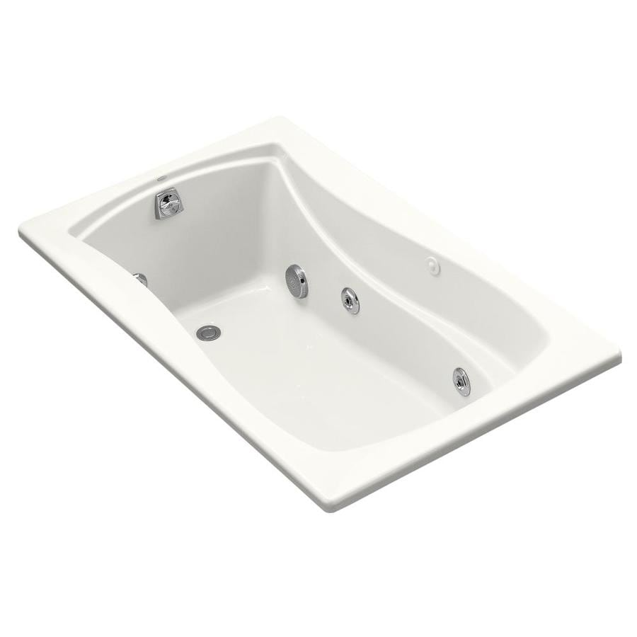 KOHLER Mariposa White Acrylic Hourglass In Rectangle Alcove Whirlpool Tub (Common: 36-in x 60-in; Actual: 20-in x 36-in)