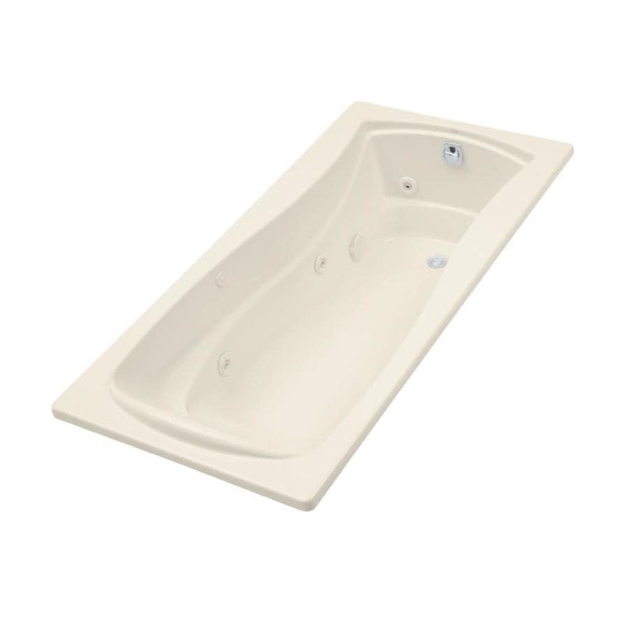 KOHLER Mariposa 72-in Almond Acrylic Drop-In Whirlpool Tub with Reversible Drain
