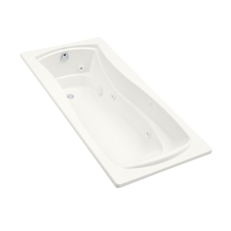 KOHLER Mariposa White Acrylic Hourglass In Rectangle Alcove Whirlpool Tub (Common: 36-in x 72-in; Actual: 20-in x 36-in)