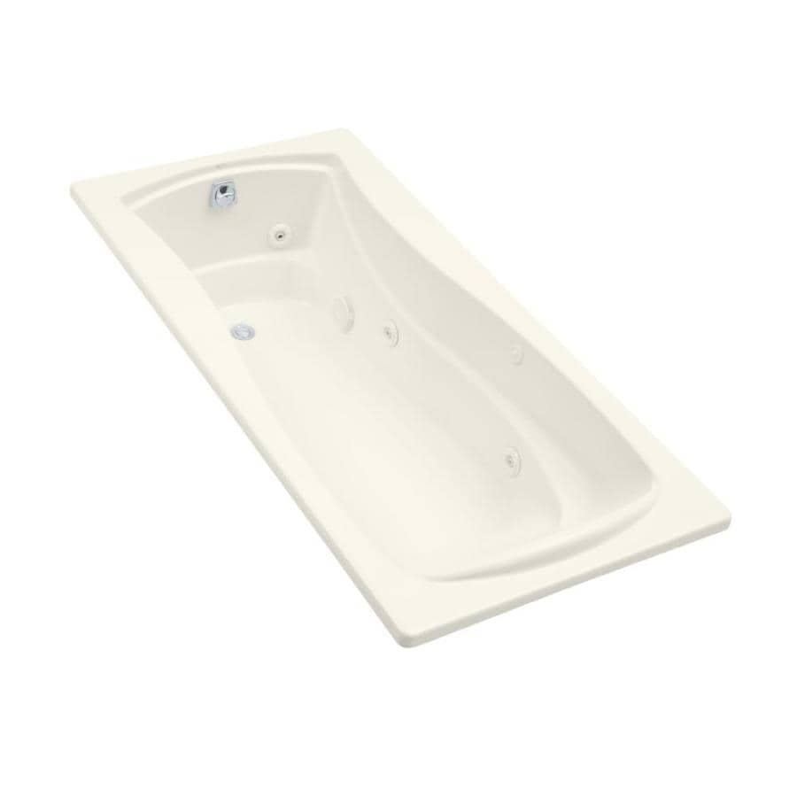 KOHLER Mariposa 72-in Biscuit Acrylic Drop-In Whirlpool Tub with Left-Hand Drain