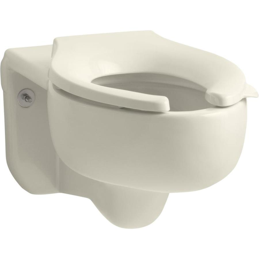 KOHLER Stratton Chair Height Almond Wall-Hung Rough-In Pressure Assist Elongated Toilet Bowl