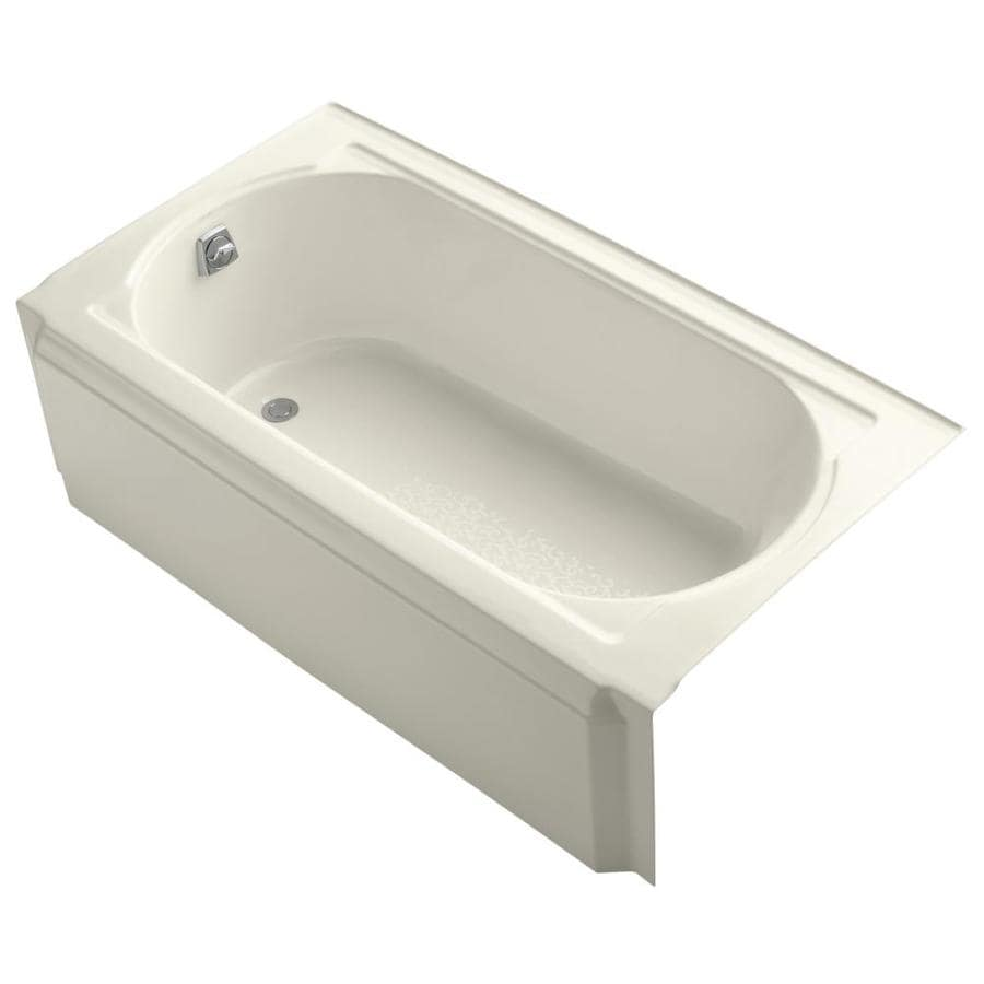 KOHLER Memoirs Biscuit Cast Iron Oval In Rectangle Skirted Bathtub with Left-Hand Drain (Common: 34-in x 60-in; Actual: 17.44-in x 33.75-in x 60-in)