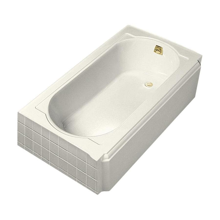 KOHLER Memoirs Biscuit Cast Iron Oval In Rectangle Skirted Bathtub with Right-Hand Drain (Common: 34-in x 60-in; Actual: 17.44-in x 33.75-in x 60-in)