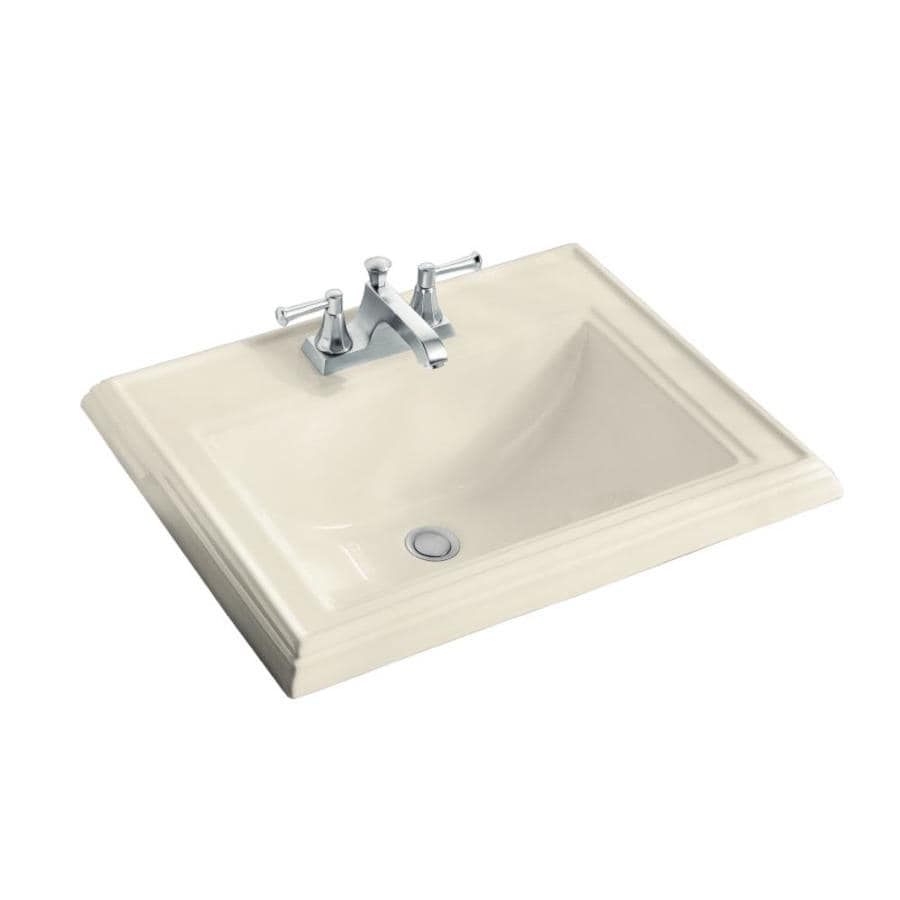 KOHLER Memoirs Almond Drop-in Rectangular Bathroom Sink with Overflow