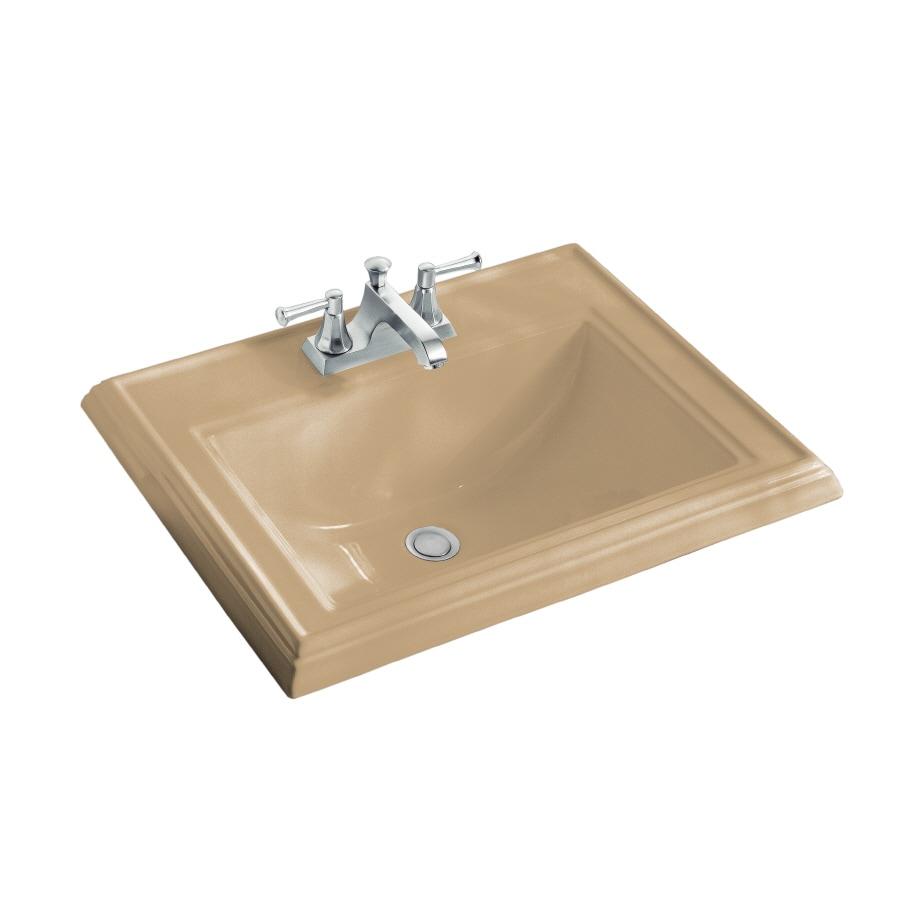 KOHLER Memoirs Mexican Sand Drop-In Rectangular Bathroom Sink with Overflow