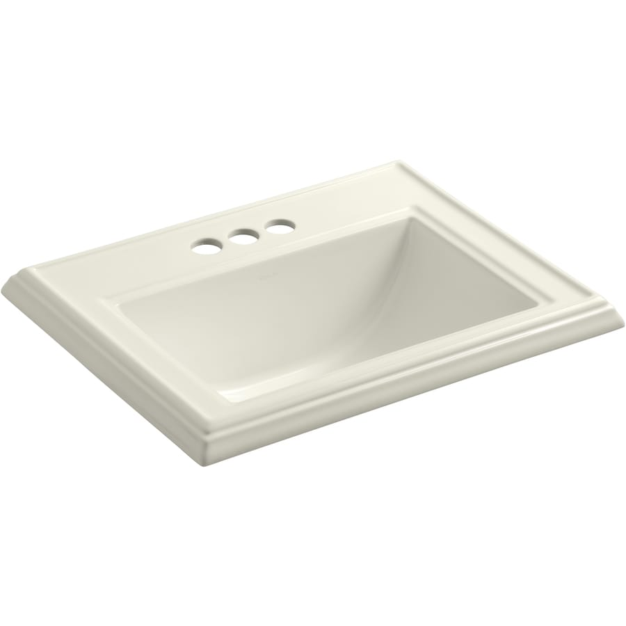 biscuit drop in rectangular bathroom sink with overflow at