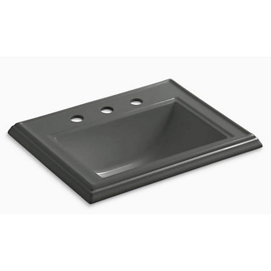 KOHLER Memoirs Thunder Grey Drop-in Rectangular Bathroom Sink with Overflow