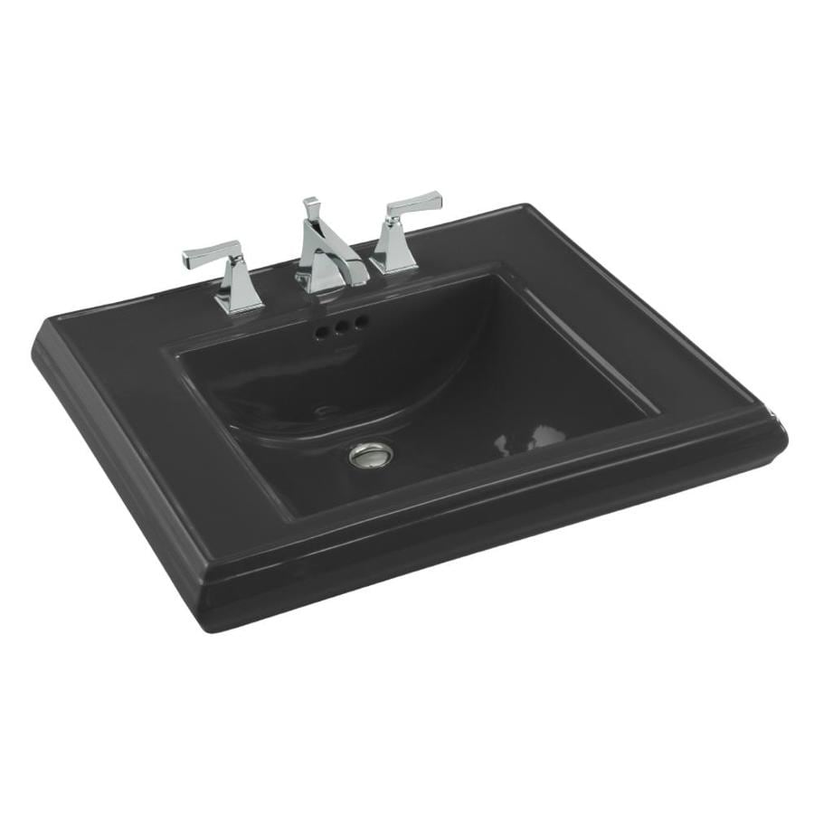 KOHLER 27-in L x 22-in W Black Fire Clay Pedestal Sink Top