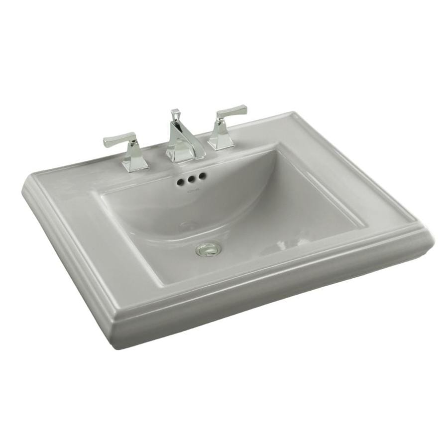 KOHLER Memoirs 27-in L x 22-in W Ice Grey Fire Clay Rectangular Pedestal Sink Top