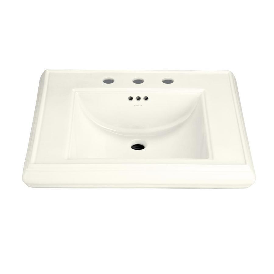 KOHLER Memoirs 27-in L x 22-in W Biscuit Fire Clay Rectangular Pedestal Sink Top