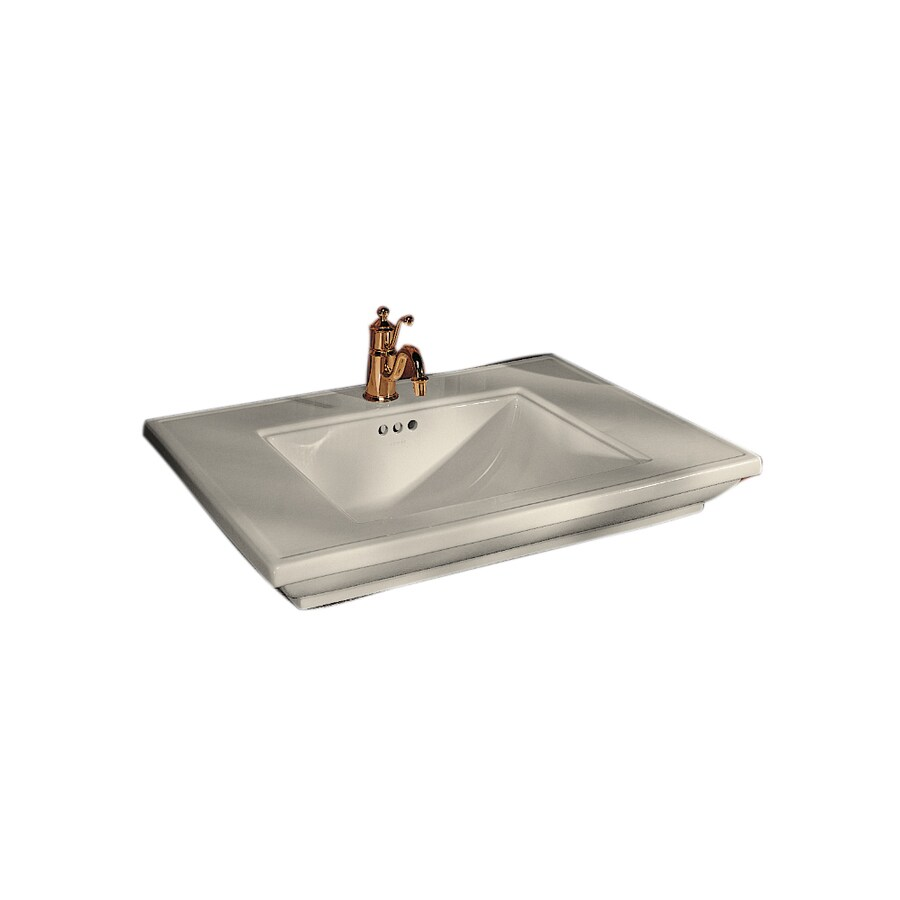 KOHLER Memoirs Almond Fire Clay Drop-in Rectangular Bathroom Sink with Overflow