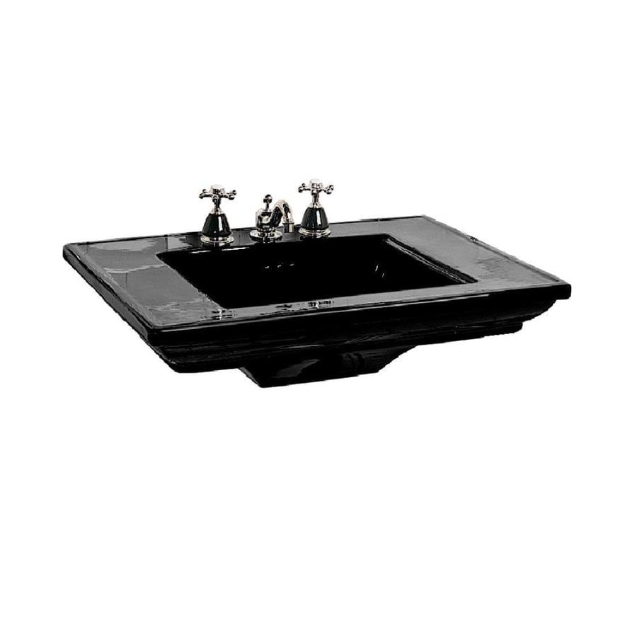 Shop Kohler Memoirs Black Black Fire Clay Drop In Rectangular Bathroom Sink With Overflow At