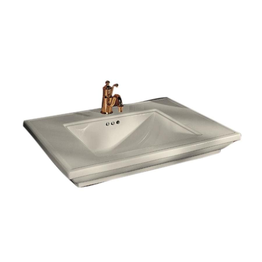 Shop Kohler Memoirs Almond Fire Clay Drop In Rectangular Bathroom Sink With Overflow At