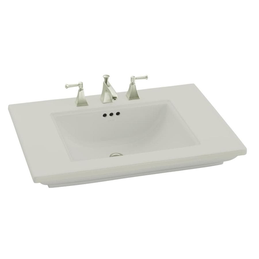 KOHLER Memoirs Ice Grey Fire Clay Drop-in Rectangular Bathroom Sink with Overflow