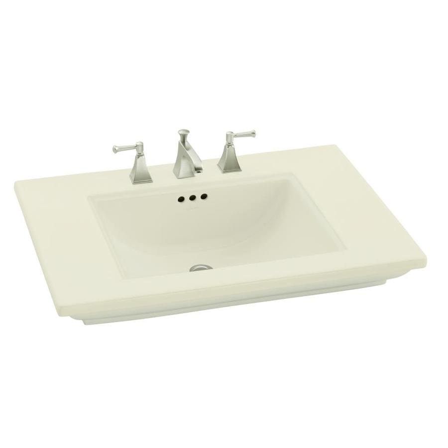 Shop Kohler Memoirs Biscuit Fire Clay Drop In Rectangular Bathroom Sink With Overflow At