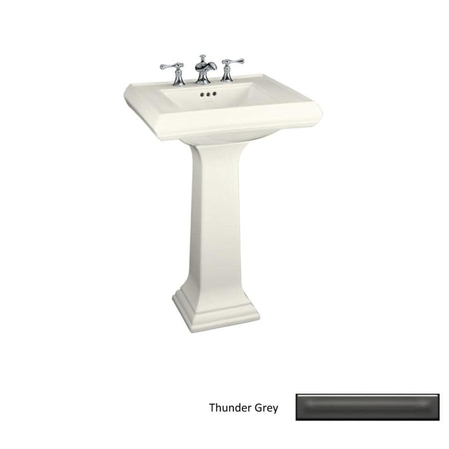 KOHLER Memoirs 34.38-in H Thunder Grey Fire Clay Pedestal Sink