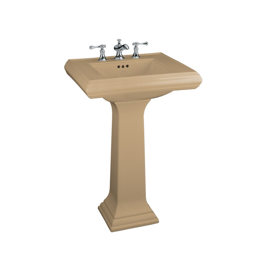 KOHLER Memoirs 34.38-in H Mexican Sand Fire Clay Pedestal Sink