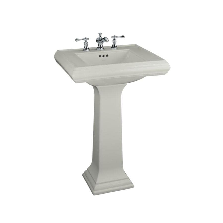 KOHLER Memoirs 34.38-in H Ice Grey Fire Clay Pedestal Sink