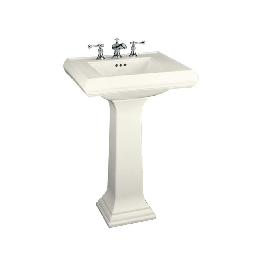 KOHLER Memoirs 34.38-in H Biscuit Fire Clay Pedestal Sink