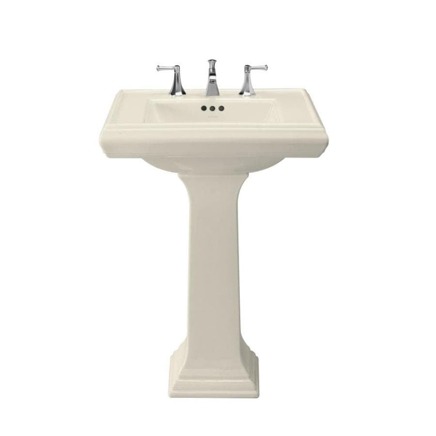 KOHLER Memoirs 35-in H Almond Fire Clay Pedestal Sink