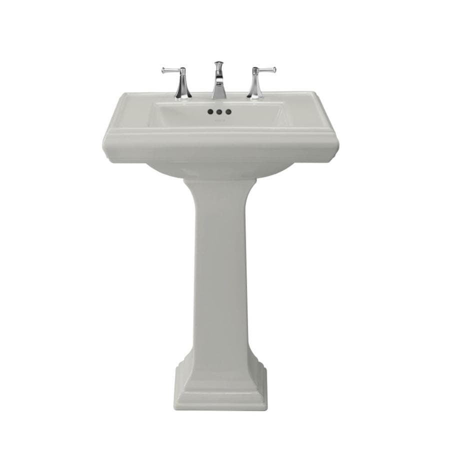 KOHLER Memoirs 35-in H Ice Grey Fire Clay Pedestal Sink