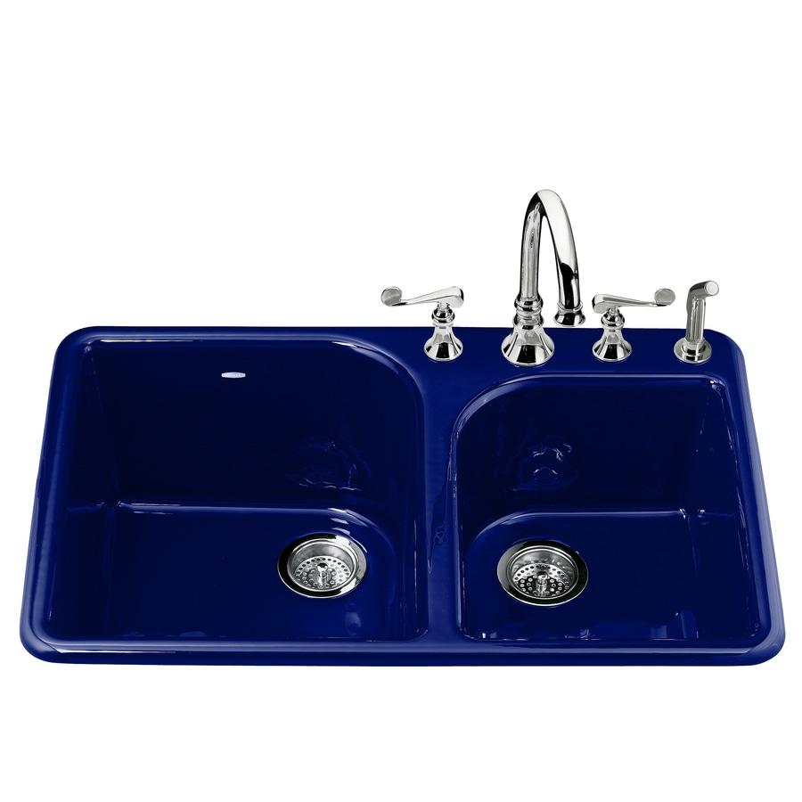 KOHLER Executive Chef 33-in x 22-in Iron Cobalt Double-Basin 4-Hole on cobalt blue basement, cobalt blue pendant light chandelier, cobalt blue flooring, cobalt blue oven, cobalt blue thawne, cobalt blue vessel sink, cobalt blue abstract art, cobalt blue bathtub, cobalt blue romper, cobalt blue bar sink, cobalt blue christmas, cobalt blue farmhouse sinks, cobalt blue pottery, blue cast iron sink, cobalt blue eclipse, cobalt blue marvel, cobalt blue shower, cobalt blue computer, cobalt blue bathroom, cobalt blue animal,