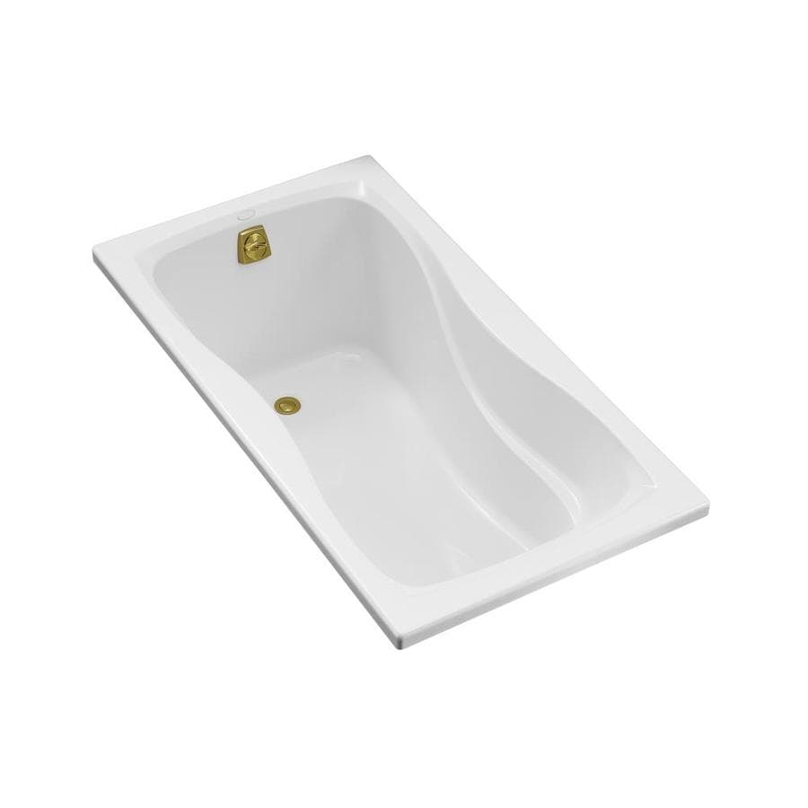 KOHLER Hourglass White Acrylic Hourglass In Rectangle Drop-in Bathtub with Reversible Drain (Common: 32-in x 60-in; Actual: 20.0000-in x 32.0000-in x 60.0000-in)
