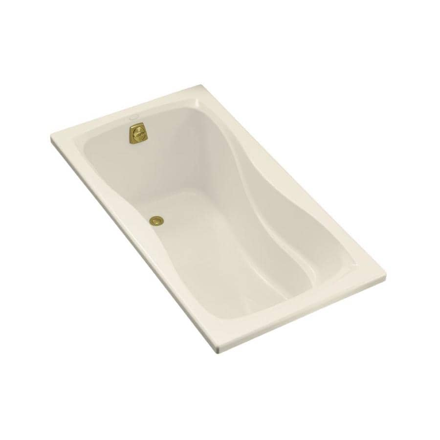 KOHLER Hourglass 60-in Almond Acrylic Drop-In Bathtub with Reversible Drain