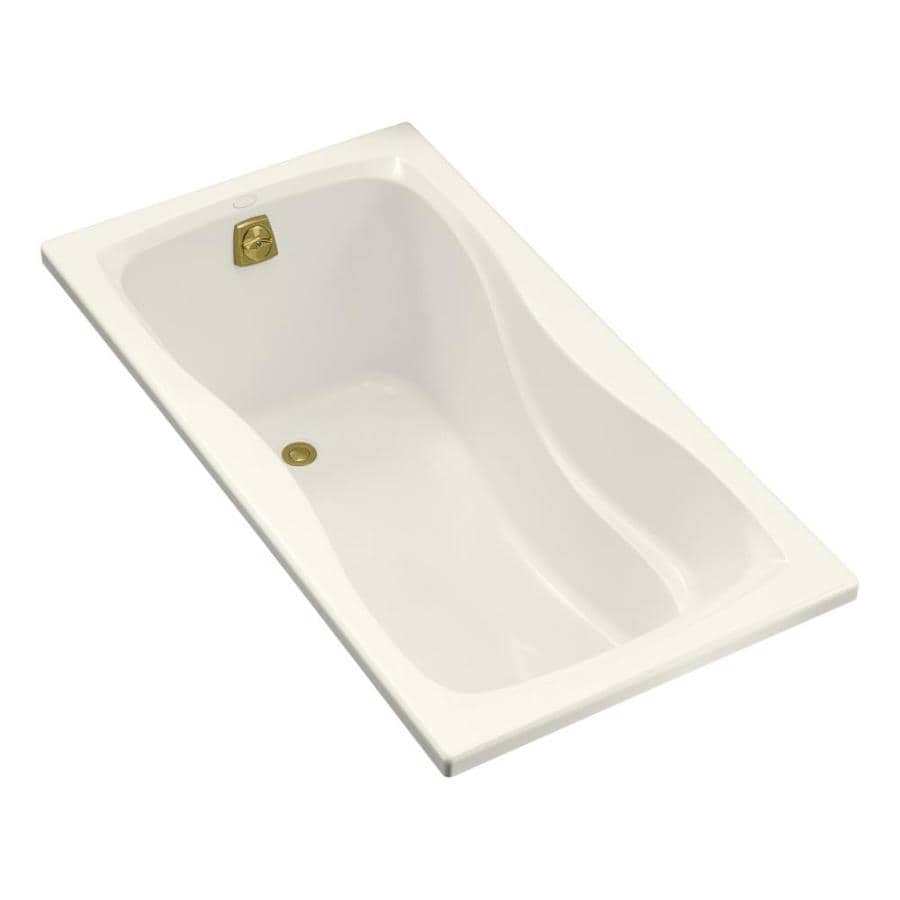 KOHLER Hourglass Biscuit Acrylic Hourglass In Rectangle Drop-in Bathtub with Reversible Drain (Common: 32-in x 60-in; Actual: 20.0000-in x 32.0000-in x 60.0000-in)