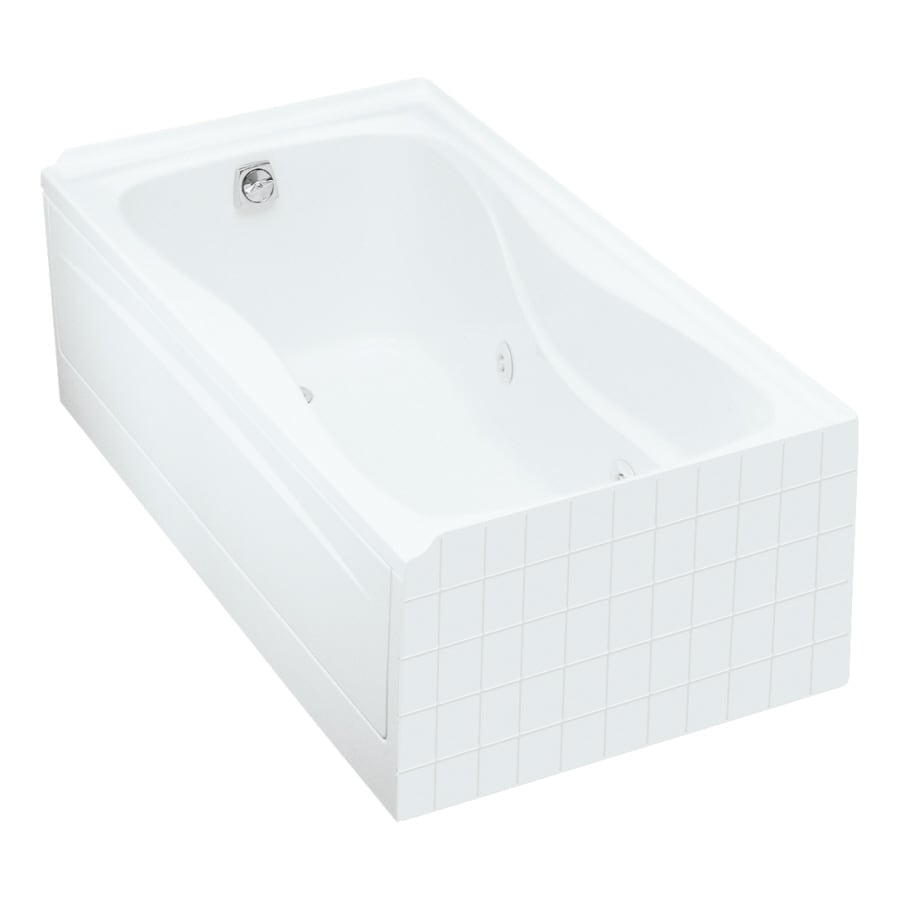 KOHLER Hourglass 60-in White Acrylic Drop-In Whirlpool Tub with Left-Hand Drain