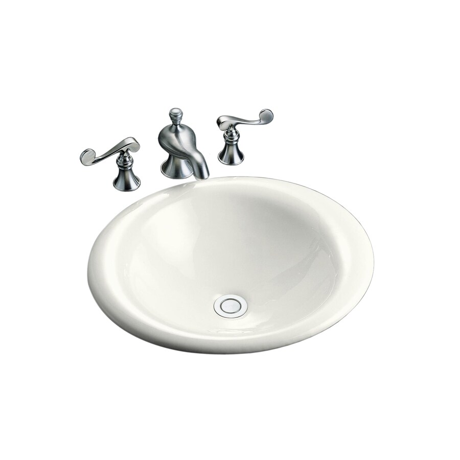 KOHLER Iron Bell White Cast Iron Drop-in Oval Bathroom Sink