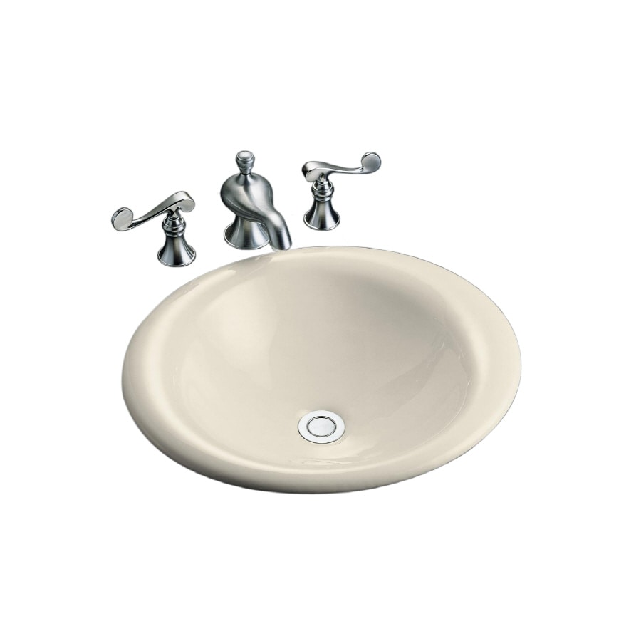 KOHLER Iron Bell Almond Cast Iron Drop-in Oval Bathroom Sink