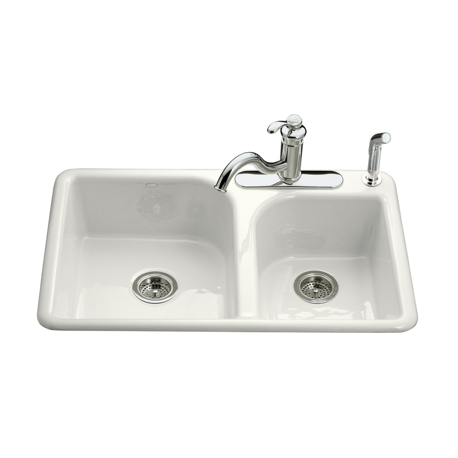 KOHLER Efficiency Double Basin Drop In Enameled Cast Iron Kitchen Sink